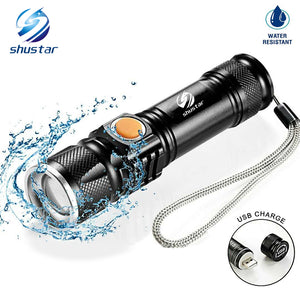 USB Inside Battery Cree XML-T6 Powerful 2000LM Led Flashlight Portable Light Rechargeable Tactical LED Torches Zoom Flashlight
