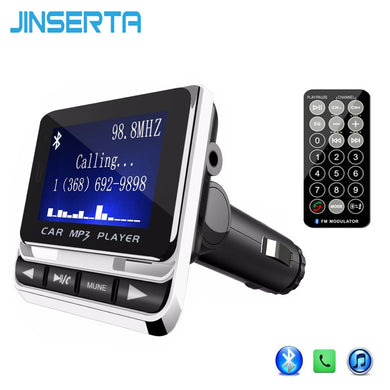 JINSERTA Wireless Bluetooth FM Transmitter MP3 Player  LCD Screen USB Charger Support TF Line-in AUX