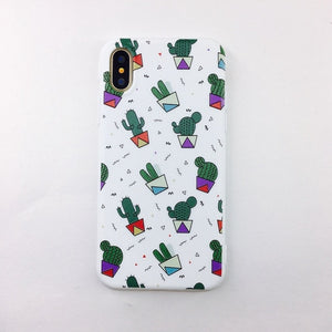 YiKELO Phone Case for iPhone X 6 6s 7 8 Plus Cactus Plants Silicon Cover