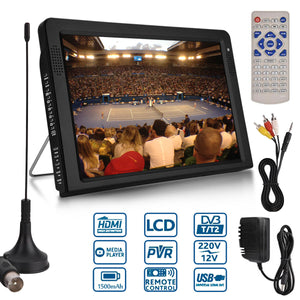 Outdoor 10.2 Inch 12V Portable Digital Analog Television DVB-T / DVB-T2 TFT LED HD TV Support TF Card USB Audio Car Television