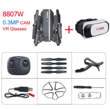 Load image into Gallery viewer, 8807 8807W Drone RC Quadcopter with 2.0MP/0.3MP Camera & VR glasses 3D Selfie Foldable Mini Dron VS E58 VISUO XS809HW JJRC H37