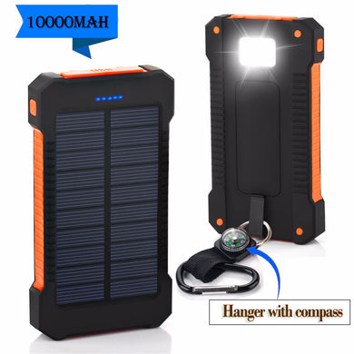 Waterproof Solar Power Bank 10000mah Dual USB Li-Polymer Solar Battery Charger Travel Powerbank With a compass LED light