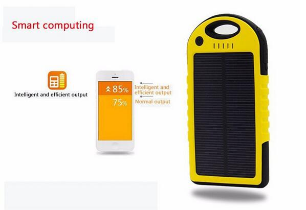 Dual-USB Waterproof Solar charger 10000mah Power Bank Travel External Battery case for iPhone Samsung Smartphone