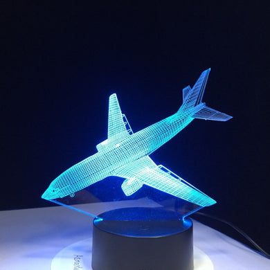 Aircraft Novelty 3D Illusion Lamp Colorful Light Fixture