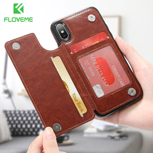 Card Slot Wallet Case For iPhone X 7 8 Plus Stand For iPhone 7 6 6s Plus 5s 5 SE Cover