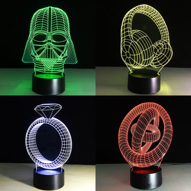 7 Colors Creative 3D  Night Light USB