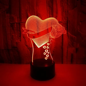 Love Rose 3d Night Light 7 Color Touch Remote Control Led Visual Lamp