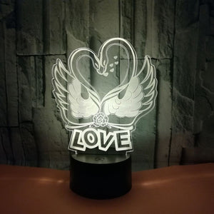 Romantic Novelty Swan Heart Shape 3D Night Lights Desk Lamp 7 Colors Changing Visual Led Home Decor Light Fixture Gifts Lovers
