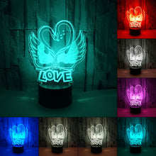 Load image into Gallery viewer, Romantic Novelty Swan Heart Shape 3D Night Lights Desk Lamp 7 Colors Changing Visual Led Home Decor Light Fixture Gifts Lovers