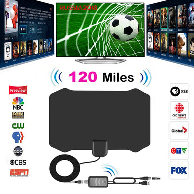 120 Miles Antena Digital HDTV Indoor TV Antenna with Amplifier Signal