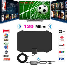 Load image into Gallery viewer, 120 Miles Antena Digital HDTV Indoor TV Antenna with Amplifier Signal Booster