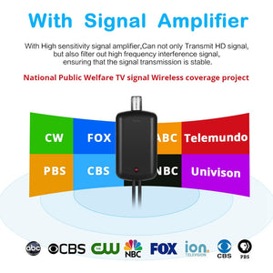 120 Miles Antena Digital HDTV Indoor TV Antenna with Amplifier Signal Booster