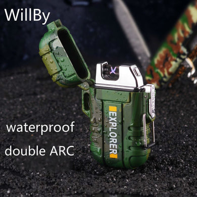F12 Double Arc Rechargeable Lighter Outdoor Waterproof Electronic Lighter