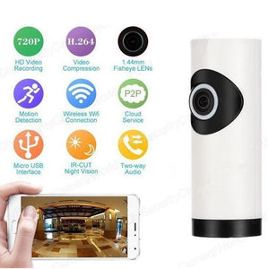 720P Wifi Panoramic Camera 360 Degree Fish-eye Smart Home Security Wireless Night Vision Camera