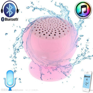 8Color Waterproof Shower Wireless Bluetooth Handfree Mic Suction Speaker Pink