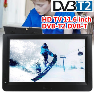 11.6 Inch Portable DVB-T2 TV Digital Analog HD TV Color TFT-LED Support TF Card W/Remote Control Universal Media Player