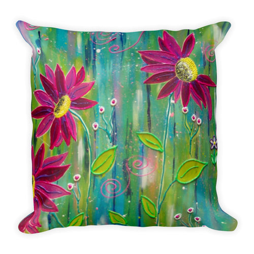 Flowers on The Wall Square Pillow