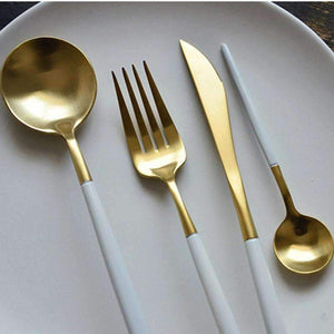 LuxeDine™️ White & Gold Cutlery Set