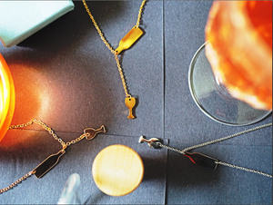 Pouring Wine Bottle & Glass Necklace