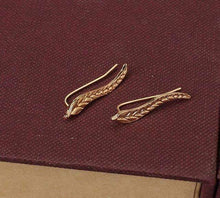 Load image into Gallery viewer, Vintage Leaf Climber Earrings In Gold & Silver