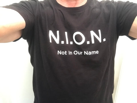 """Not In Our Name"" (N.I.O.N.) T-shirts (S, M, L, X-L)"