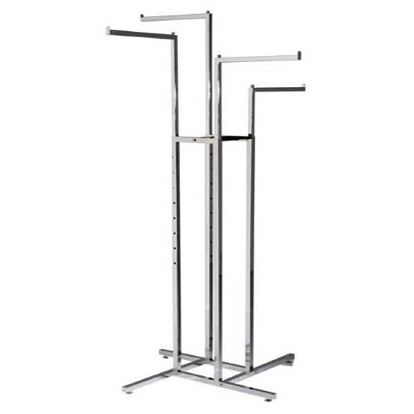Chrome Four Way Straight Arm Garment Rail