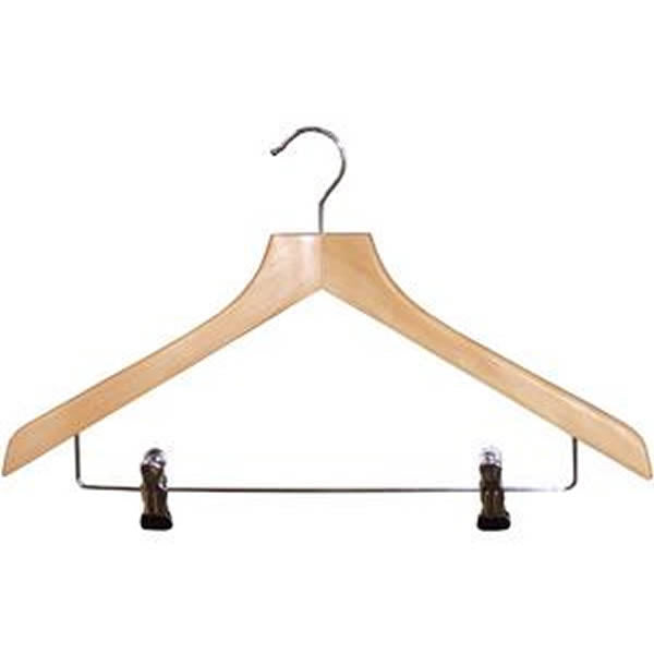 Wooden Hanger With Metal Peg Clips