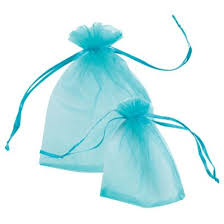 Turquoise Voile Gift Bags - 15 x 20 cm