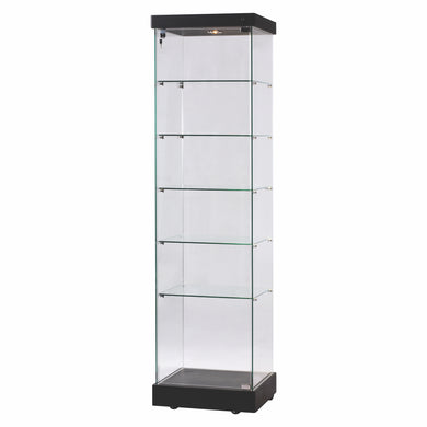Narrow Glass Showcase With Black Top & Plinth On Castors