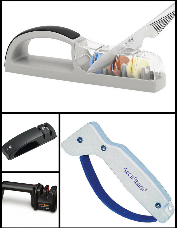 Manual pull through knife sharpeners