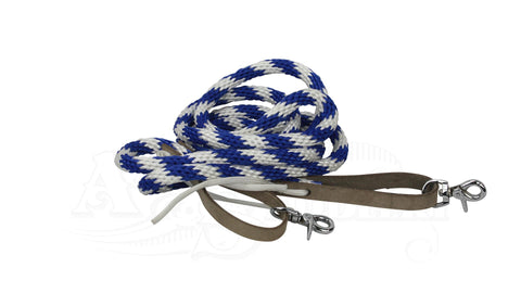 Reins Western Nylon With Snaps blue white
