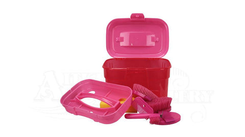 Colourful Seven Piece Grooming Box Rose Pink