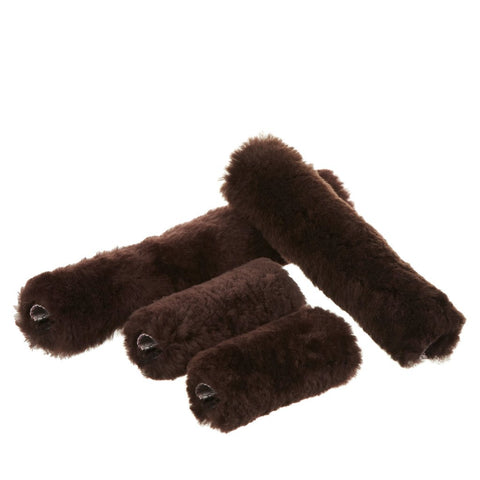 LeMieux Sheepskin Head Collar Set Chocolate