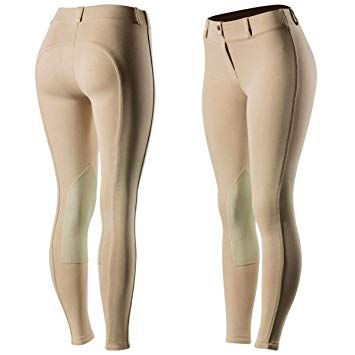 Horze Ella Pull On Knee Patch Ladies Breeches Light Brown