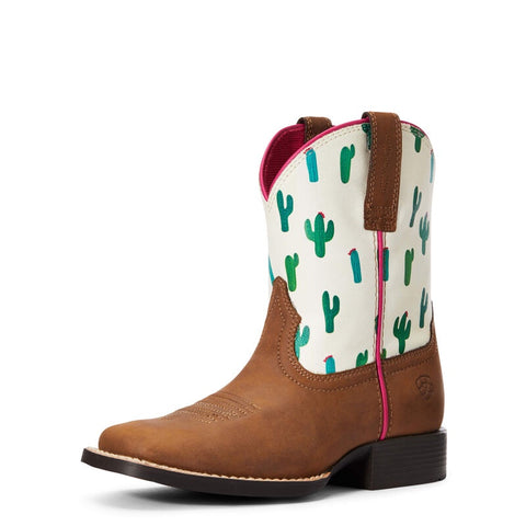 Ariat Youths Dinero Dark Brown Cactus Print Boots