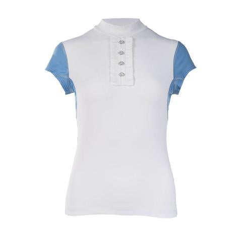 B Vertigo Charlize BVX Ladies Shirt White & Pale Blue