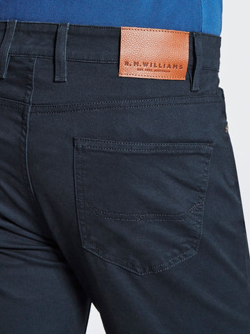 RM Williams Ramco Drill Navy Blue Mens Jeans