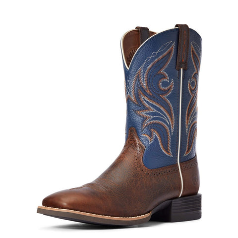 Ariat Sport Mens Knockout Dark Whiskey Sheriff Blue Boots