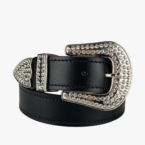 Porter Glam Western Belt Black with Silver Buckle