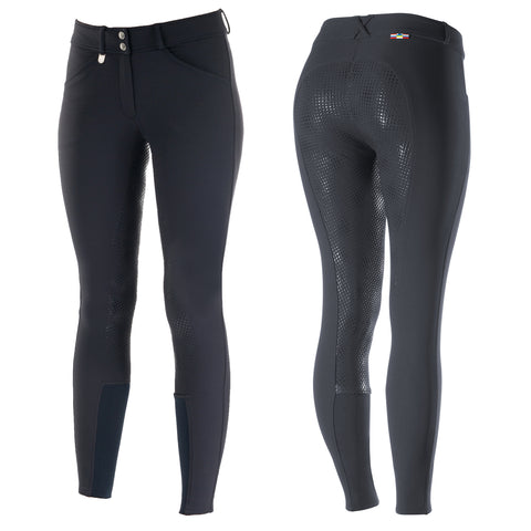 Horze Grand Prix Silicone Ladies Breeches Navy