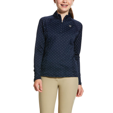 Ariat Girls Sunstopper 2.0 1/4 Zip Navy Dot