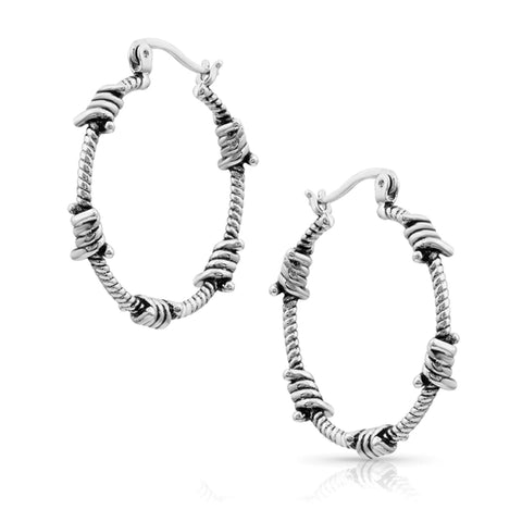 Montana Barbed Hooped Ear Rings Silver