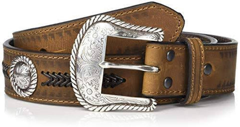 Ariat Unisex Belt Brown Plaited with Silver Concho A1033844
