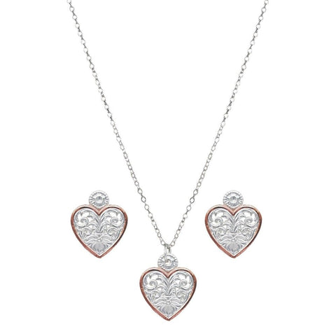 Montana Western Lace Copper Trimmed Classic Heart Set