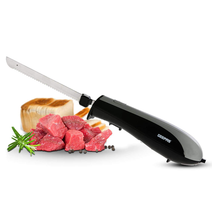 Electric Carving Knife 150W with Stainless Steel Serrated Blade Geepas | For you. For life.
