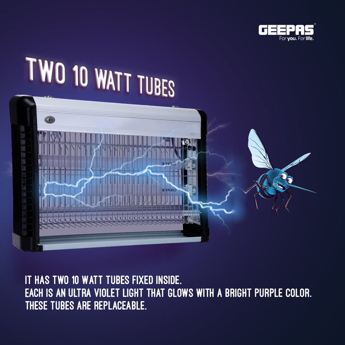 Powerful Fly Zapper, 2 x 10W UV Bulbs Bug Killer Geepas | For you. For life.