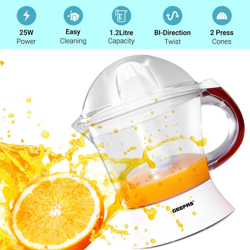 Plastic Citrus Juicer with 2 Cones for Fresh Juice | 25 W | 1.2 L Juicer Geepas | For you. For life.