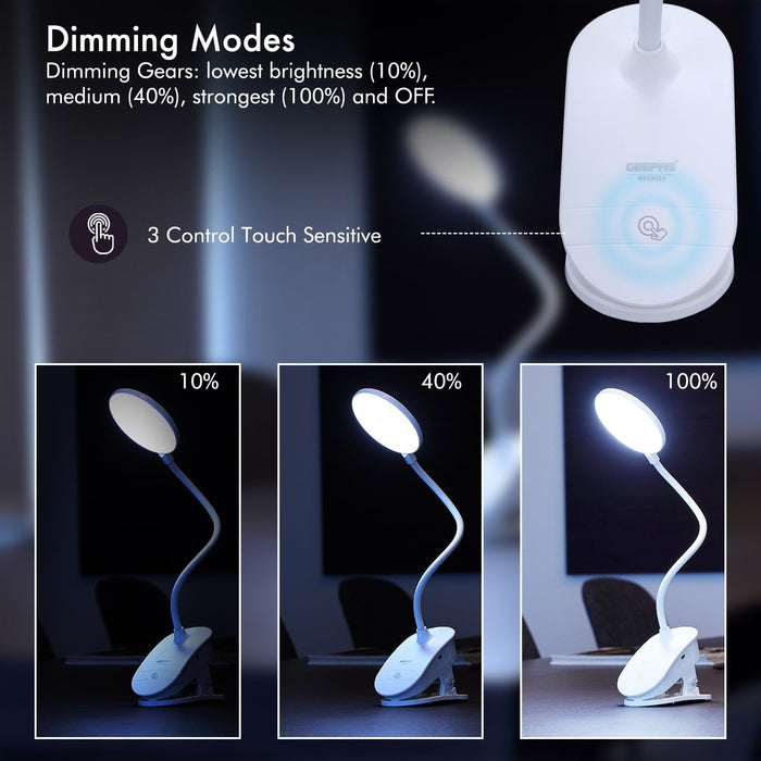 Rechargeable LED Book Light Clip On Reading Light Lighting Geepas | For you. For life.