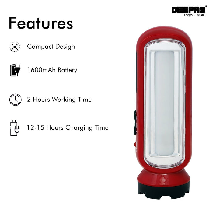 Rechargeable LED Emergency Lantern with 2-in-1 Torch Lighting Geepas | For you. For life.