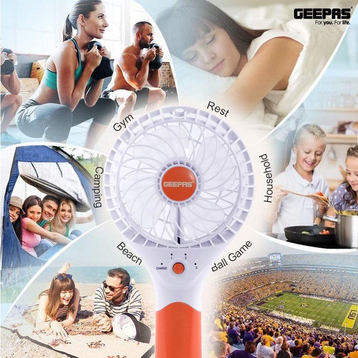 Geepas Rechargeable Mini Fan | Personal Portable Fan | Orange Fan Geepas | For you. For life.
